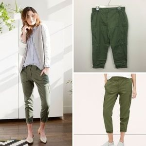 LOFT Green Cropped Utility Pants